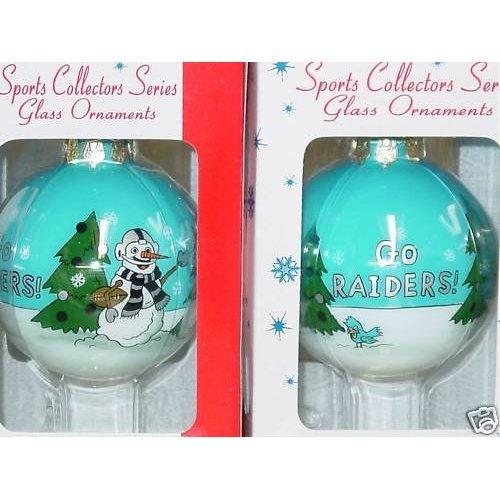 Oakland Raiders Christmas Ornaments.Nfl Oakland Raiders Glass Ball Snowman Christmas Ornament 3 5
