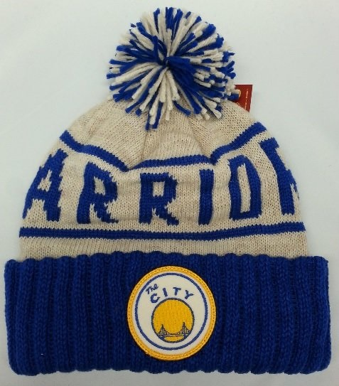 05973ec2 NBA Golden State Warriors Mitchell and Ness Knit Tan Pom Beanie