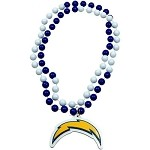 NFL San Diego Chargers Mardi Gras Beads with Medallion