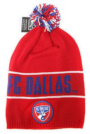 MLS FC Dallas Knit Hat / Red Cuffless Beanie with Red, White, Blue Pom