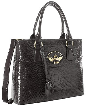 Patent Snakeskin Textured Hand Tote