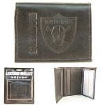 NFL Oakland Raiders Embossed Logo Black Tri-Fold NFL Wallet
