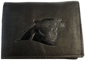 NFL Carolina Panthers Embossed Logo Black Tri-Fold NFL Wallet