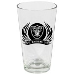 NFL Oakland Raiders 17oz Tribal Flame Screen Printed Beer Pint