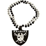 NFL Oakland Raiders Mardi Gras Beads with Medallion