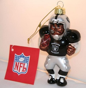 "NFL Oakland Raiders Glass Christmas Ornament 6"" Tall"