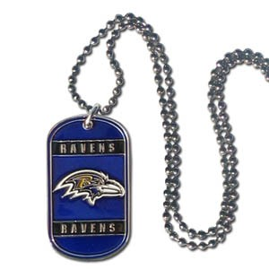 Siskiyou NFL Baltimore Ravens Logo 36-Inch Ball Chain with Licensed Dog Tag NeckTag Necklace