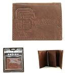MLB San Francisco Giants Embossed Logo Brown Tri-Fold NFL Wallet