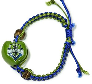 MLS Seattle Sounders Kukui Nut Macrame Bracelet