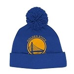 NBA Golden State Warriors Adidas Jacquard Logo Pom Cuffed Knit Beanie