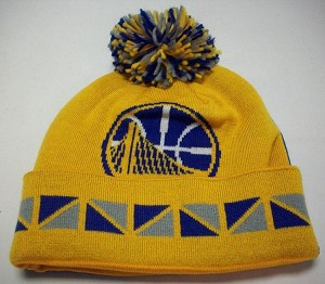 NBA Golden State Warriors Cuffed Knit Beenie with Pom by Mitchell & Ness KP19Z