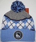 NBA Golden State Warriors Cuffed Knit Beenie with Pom by Mitchell & Ness - Powder Blue Argyle