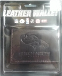NFL Denver Broncos Embossed Logo Dark Brown Tri-Fold NFL Wallet