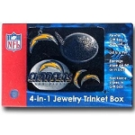 NFL SD Chargers 4 in 1 Jewelry Trinket Box