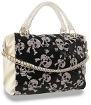 Sparkling Skulls Pattern Sequined Satchel Handbag