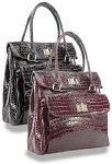 Alligator Embossed Tall Patent Tote Handbag