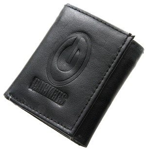 NFL Green Bay Packers Embossed Logo Black Tri-Fold NFL Wallet